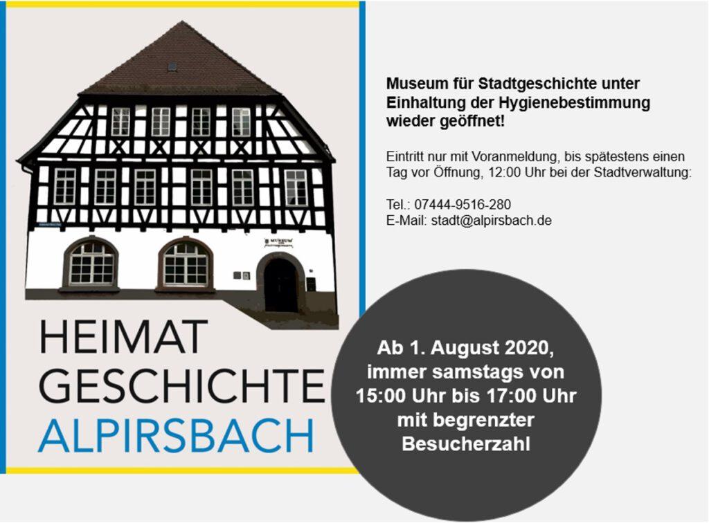 Corona Öffnungszeiten Museum für Stadtgeschichte Alpirsbach